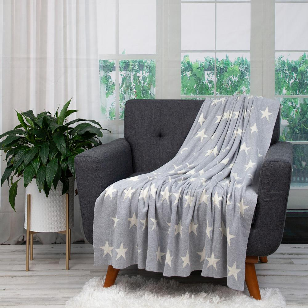 Gray and White Stars Knitted Throw Blanket - 383184. Picture 5