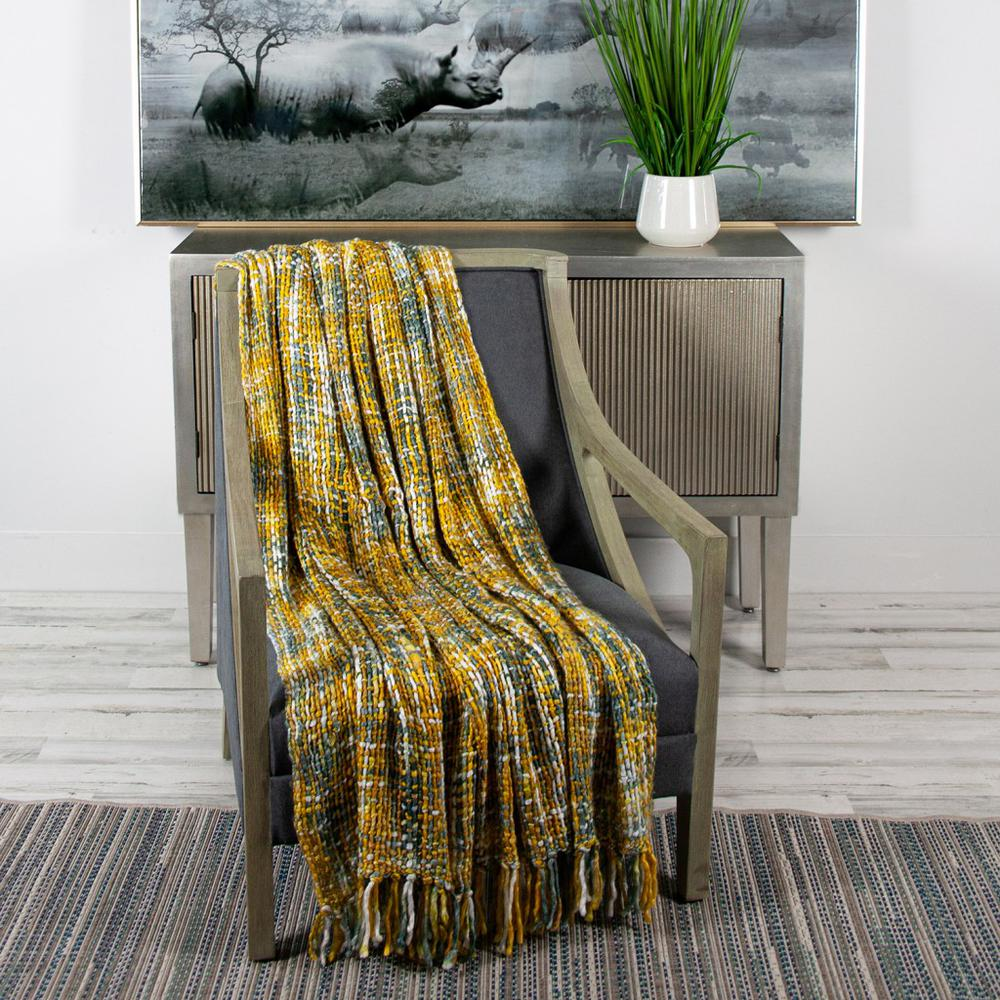 Boho Yellow and Gray Basketweave Throw Blanket - 383185. Picture 2