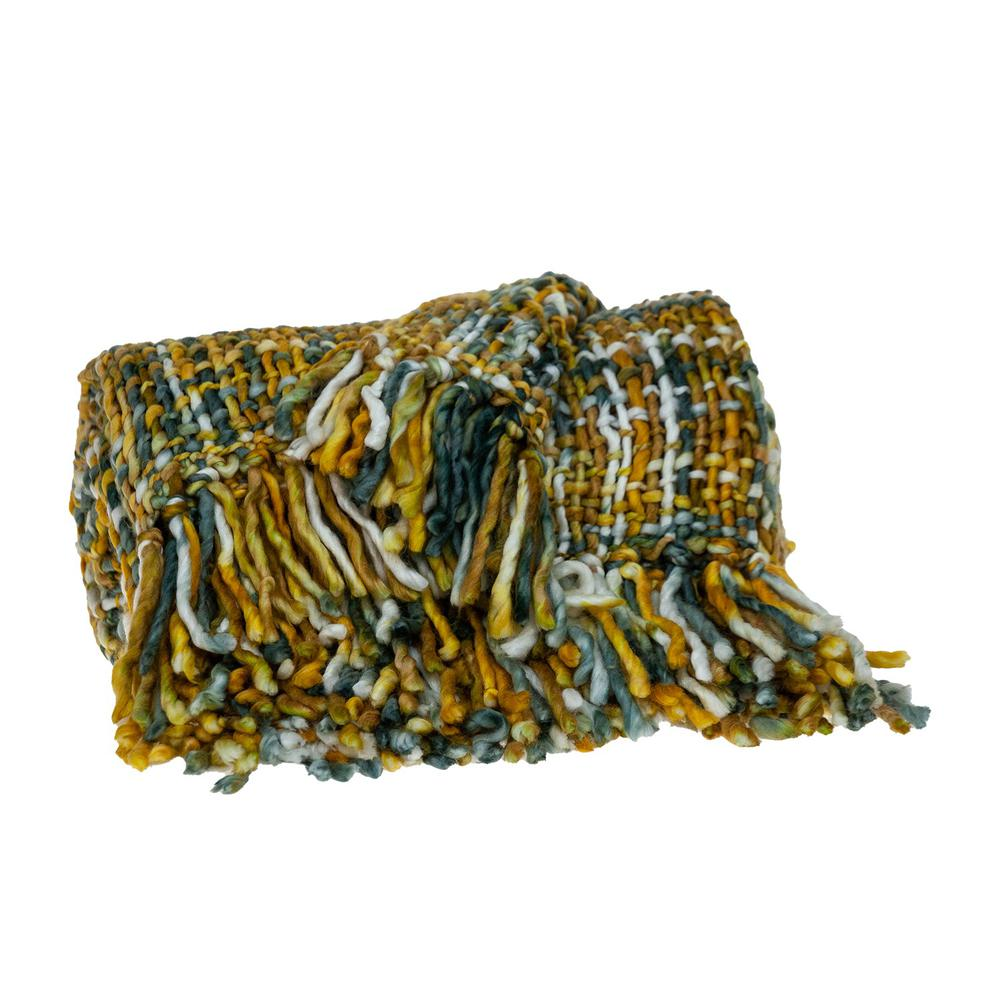 Boho Yellow and Gray Basketweave Throw Blanket - 383185. Picture 3