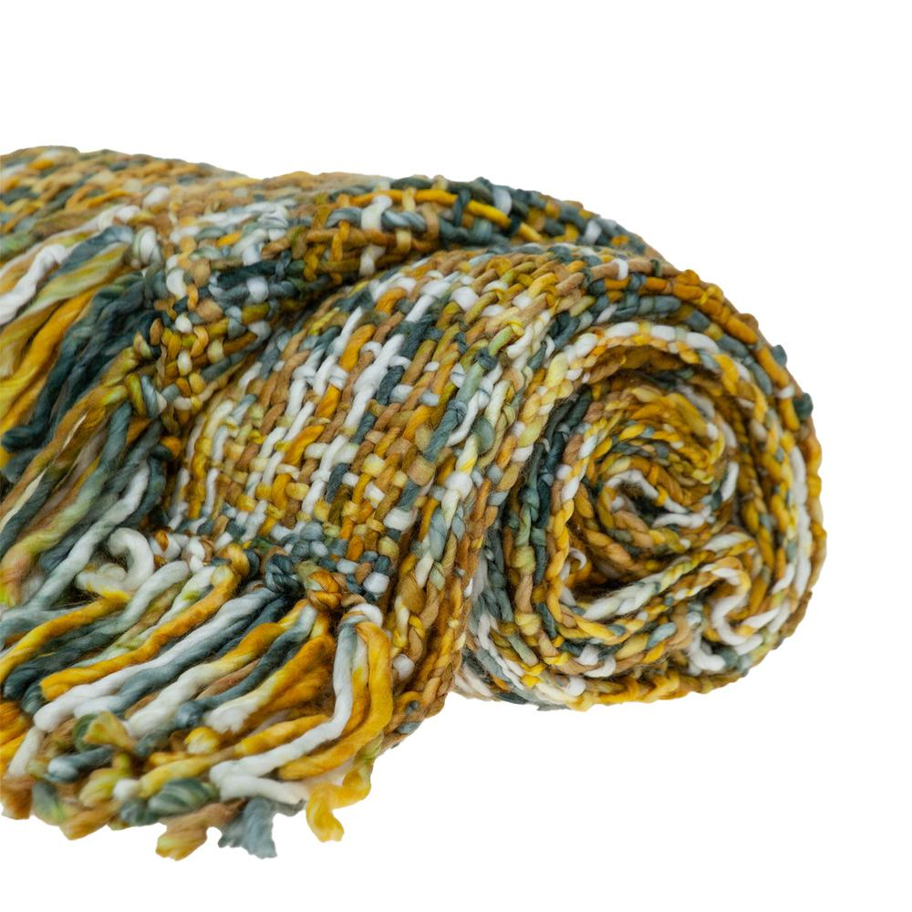 Boho Yellow and Gray Basketweave Throw Blanket - 383185. Picture 4