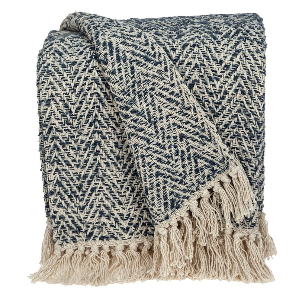 Navy and Cream Herringbone Throw Blanket - 383188. Picture 1
