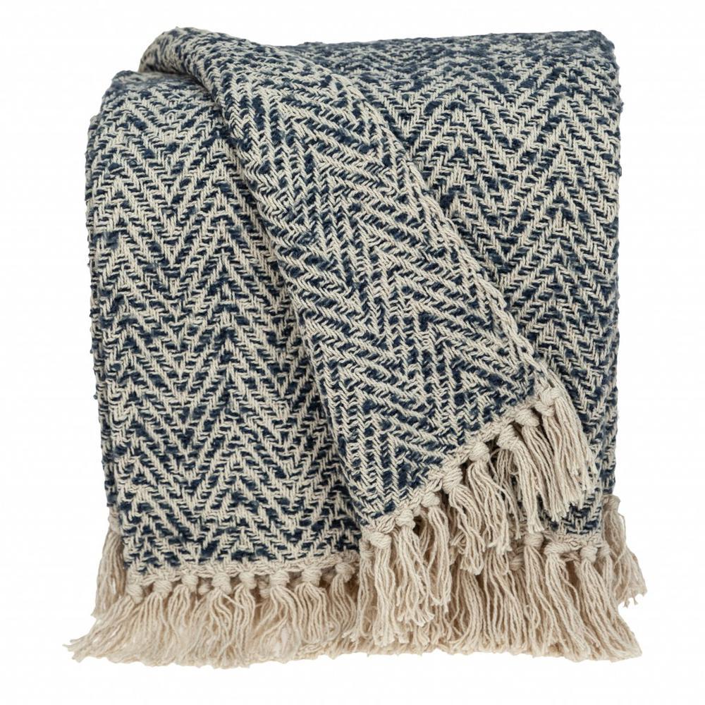 Navy and Cream Herringbone Throw Blanket - 383188. Picture 2