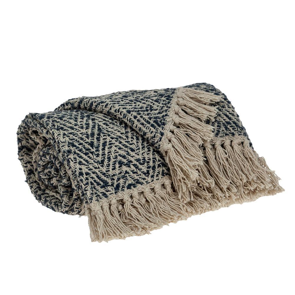 Navy and Cream Herringbone Throw Blanket - 383188. Picture 3