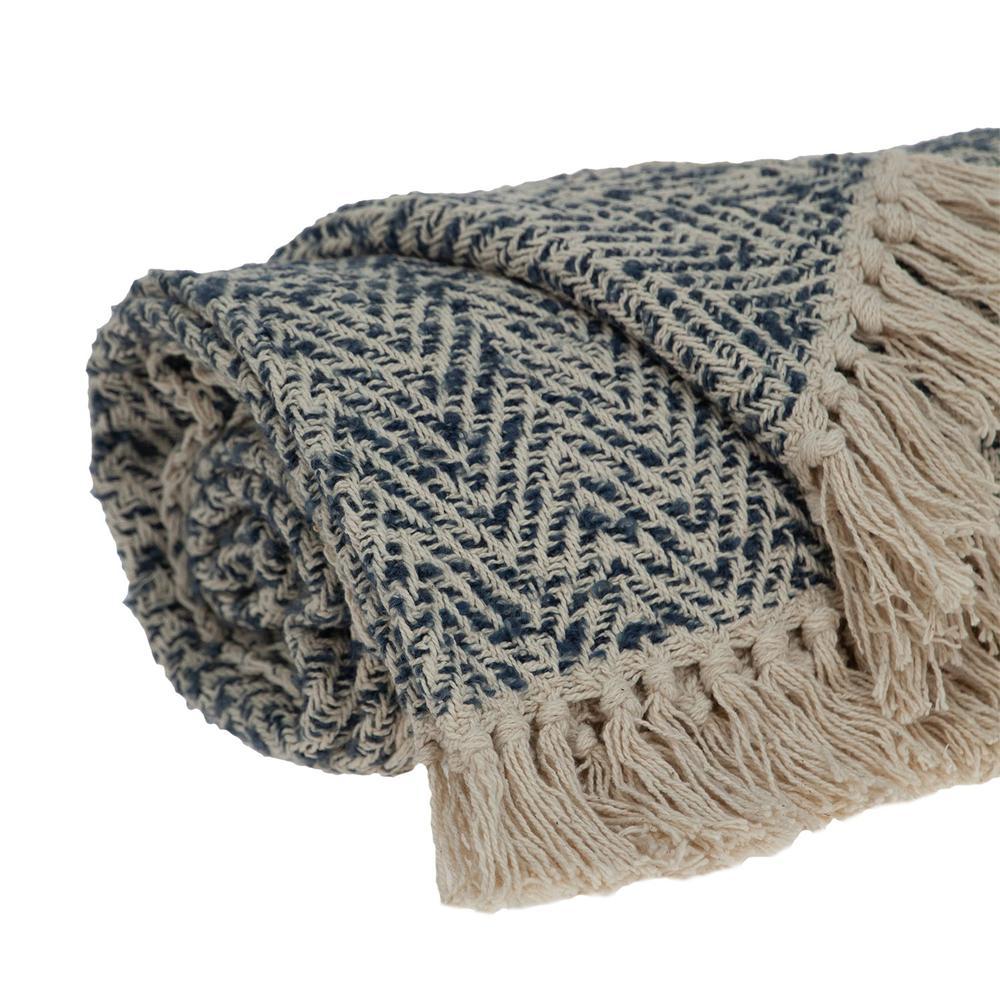 Navy and Cream Herringbone Throw Blanket - 383188. Picture 4