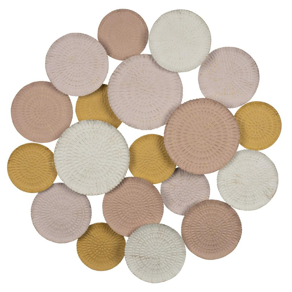 Distressed and Matte Abstract Metal Circle Wall Decor - 383220. Picture 1