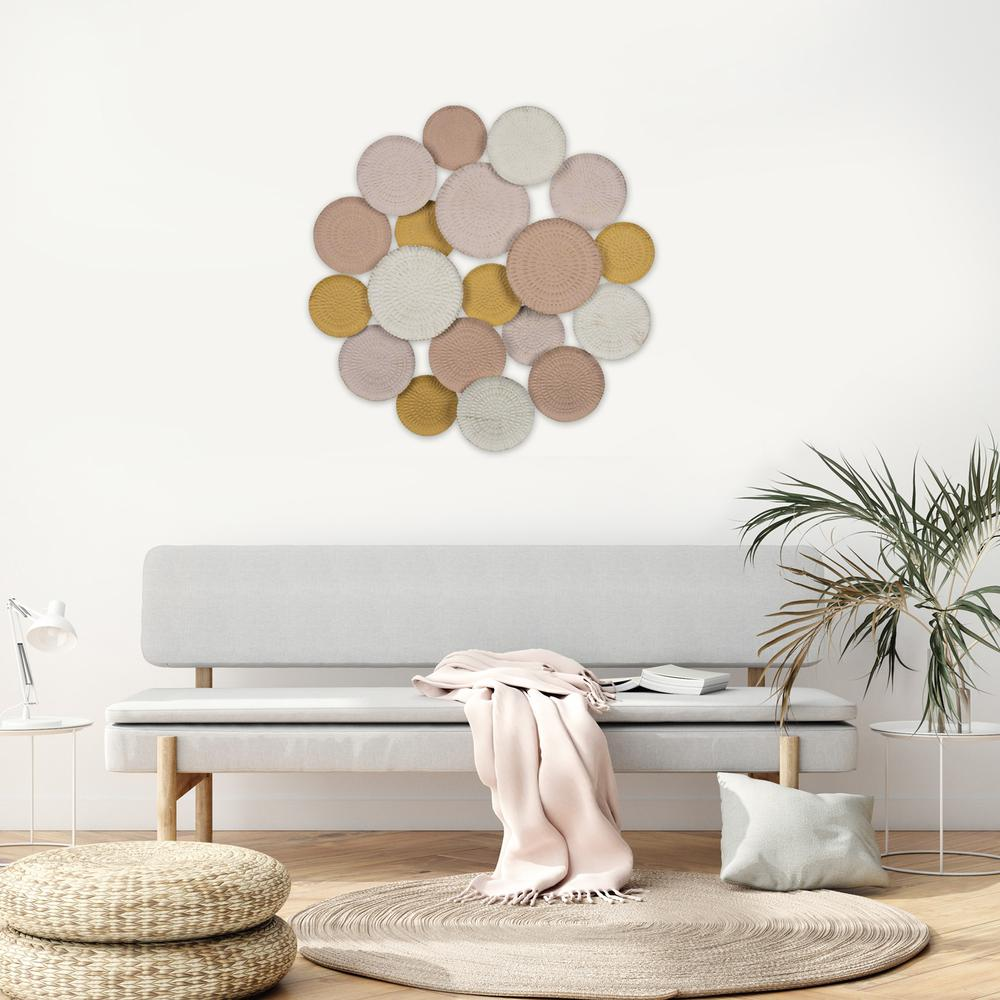 Distressed and Matte Abstract Metal Circle Wall Decor - 383220. Picture 2