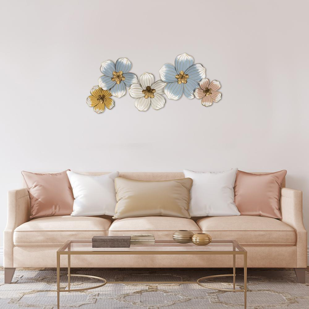 Pastel and Gold Floral Metal Wall Decor - 383223. Picture 2