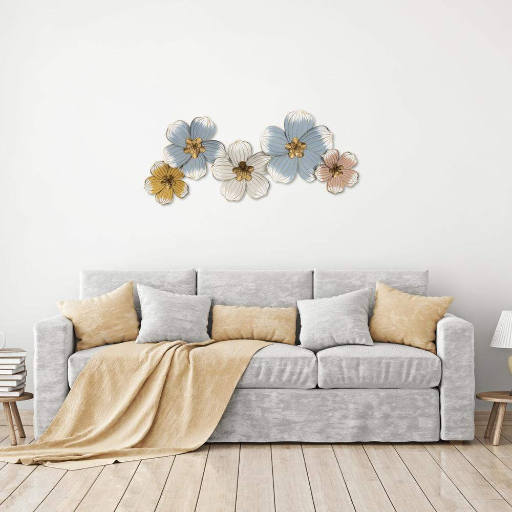 Pastel and Gold Floral Metal Wall Decor - 383223. Picture 6