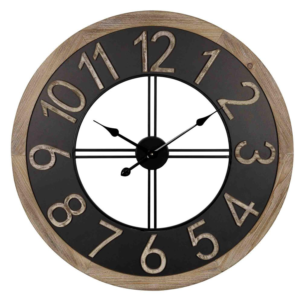 Industrial Chic Wood and Metal Wall Clock - 383224. Picture 1