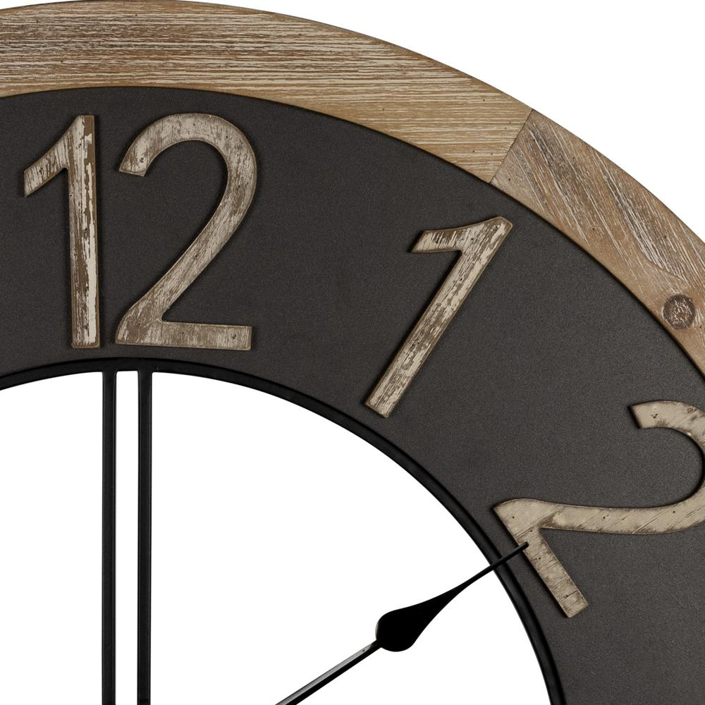 Industrial Chic Wood and Metal Wall Clock - 383224. Picture 3