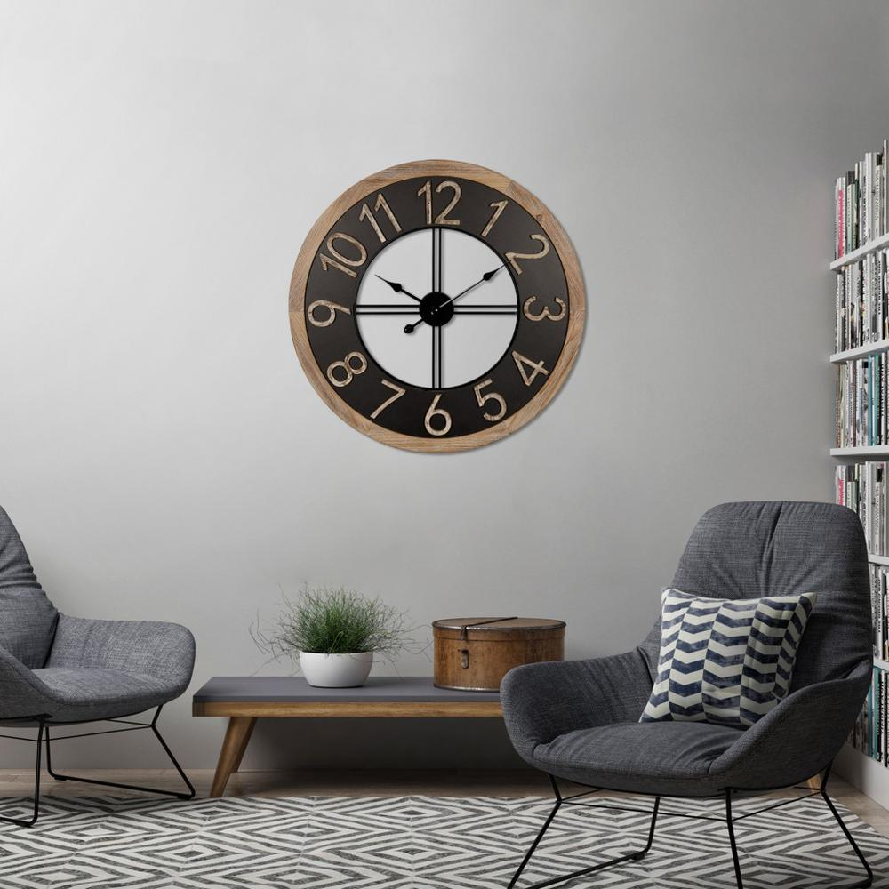 Industrial Chic Wood and Metal Wall Clock - 383224. Picture 6