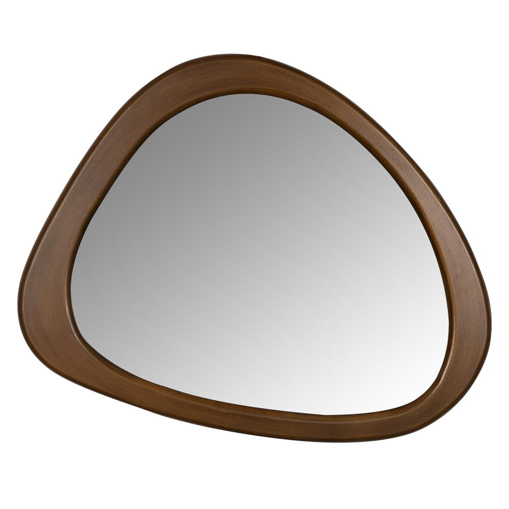 Asymmetrical Wooden Wall Mirror - 383228. Picture 1