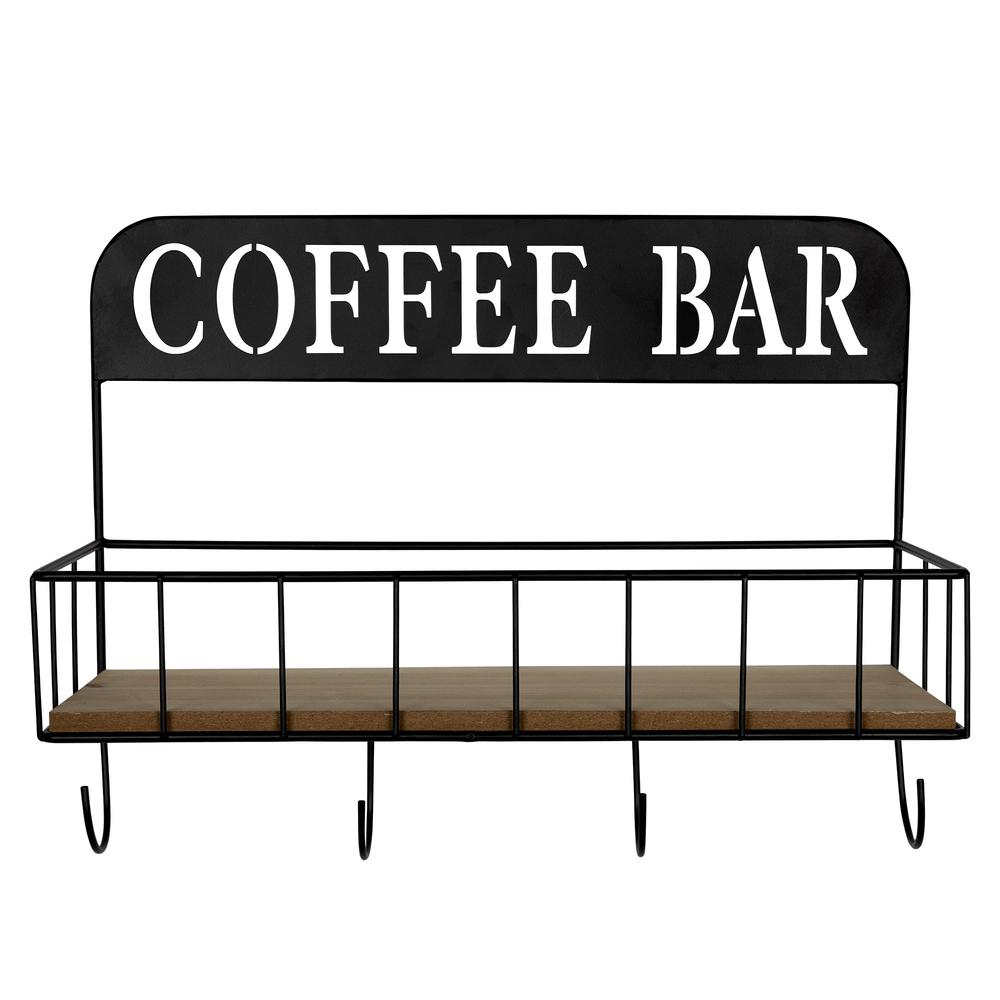 Coffee Bar Metal and Wood Wall Shelf - 383231. Picture 1