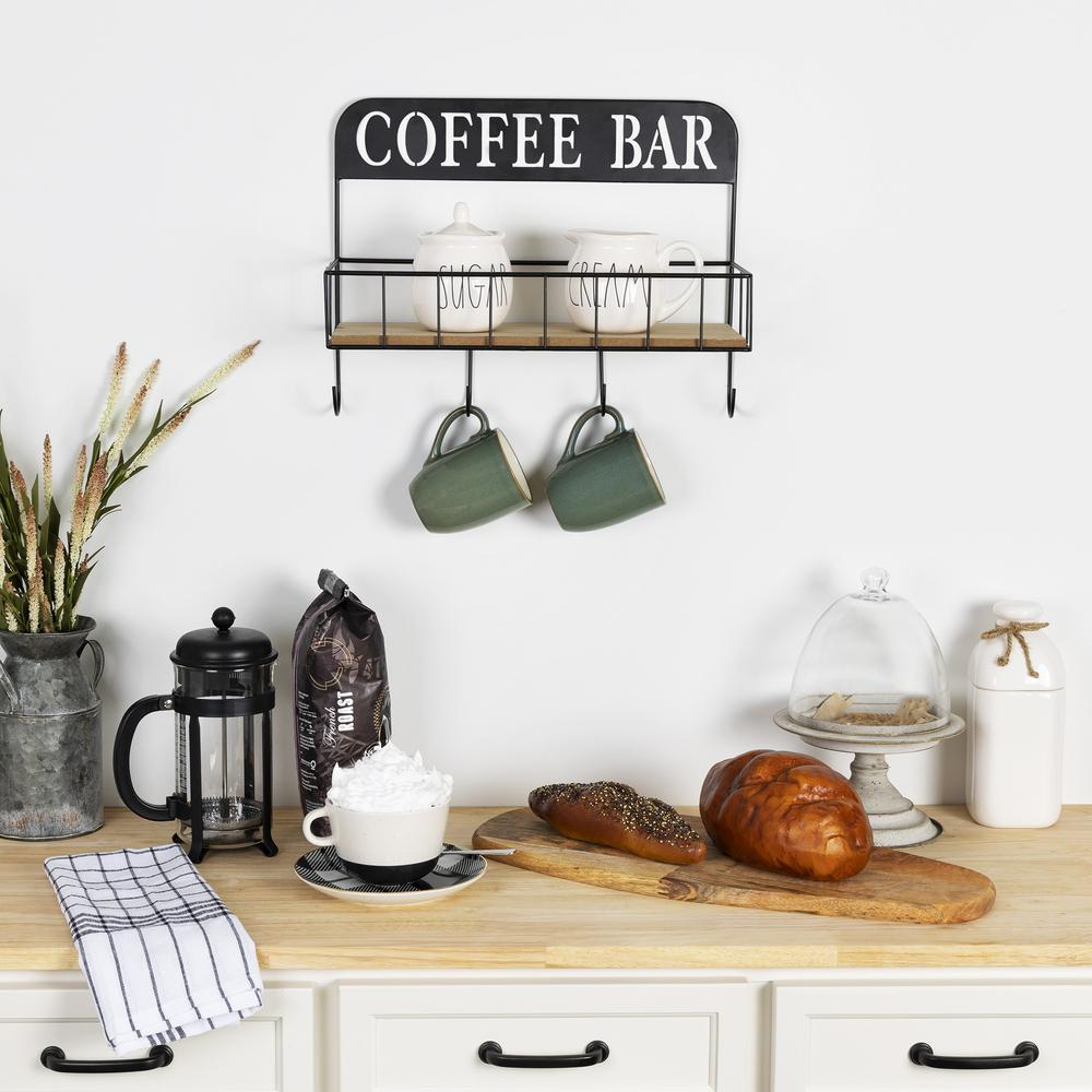 Coffee Bar Metal and Wood Wall Shelf - 383231. Picture 2