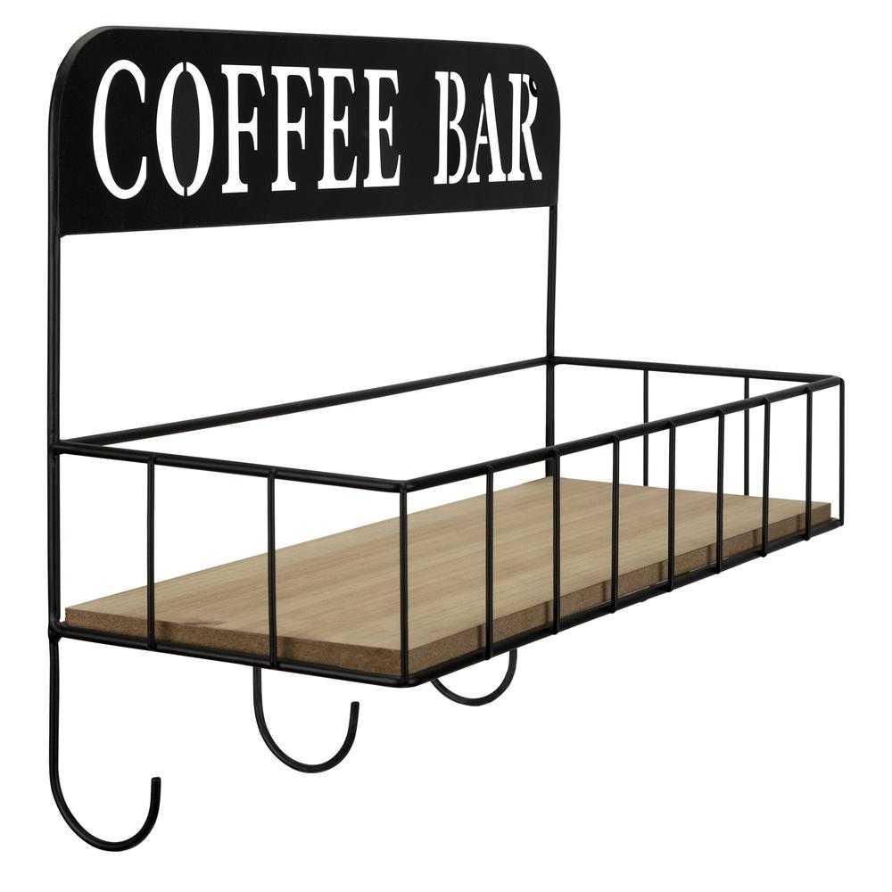 Coffee Bar Metal and Wood Wall Shelf - 383231. Picture 7