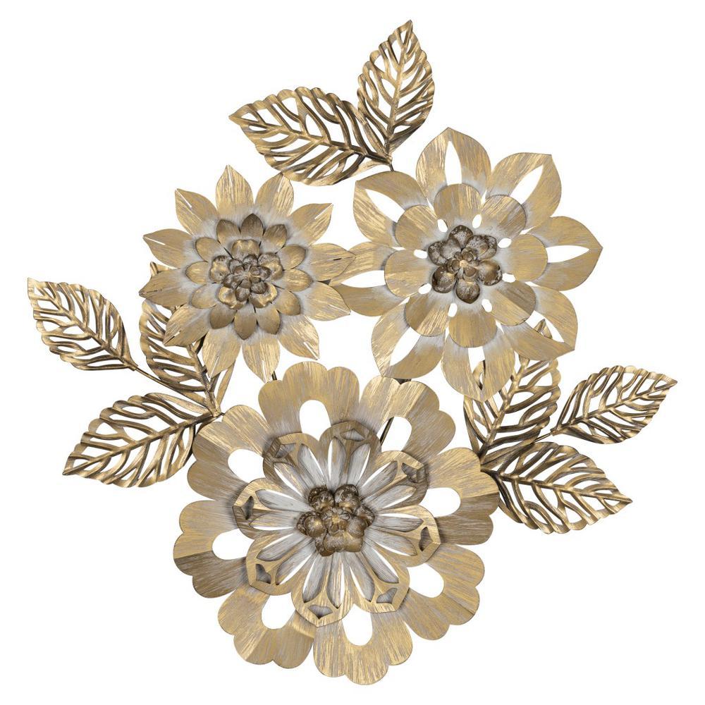 Golden Metallic Flower Wall Décor - 383232. Picture 1