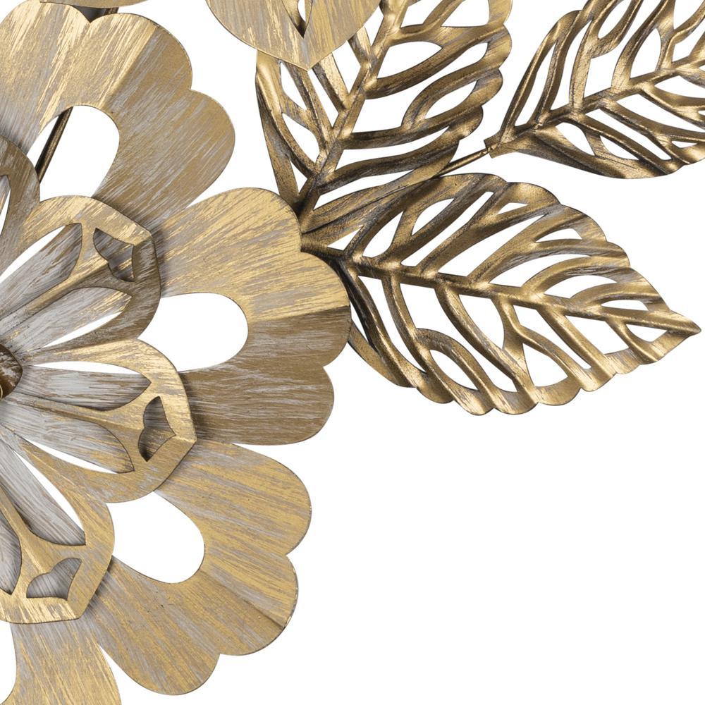 Golden Metallic Flower Wall Décor - 383232. Picture 3