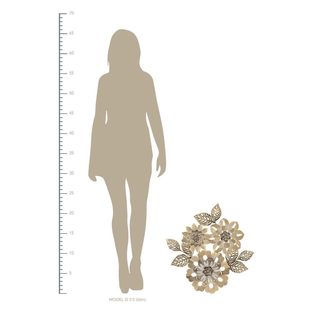 Golden Metallic Flower Wall Décor - 383232. Picture 4
