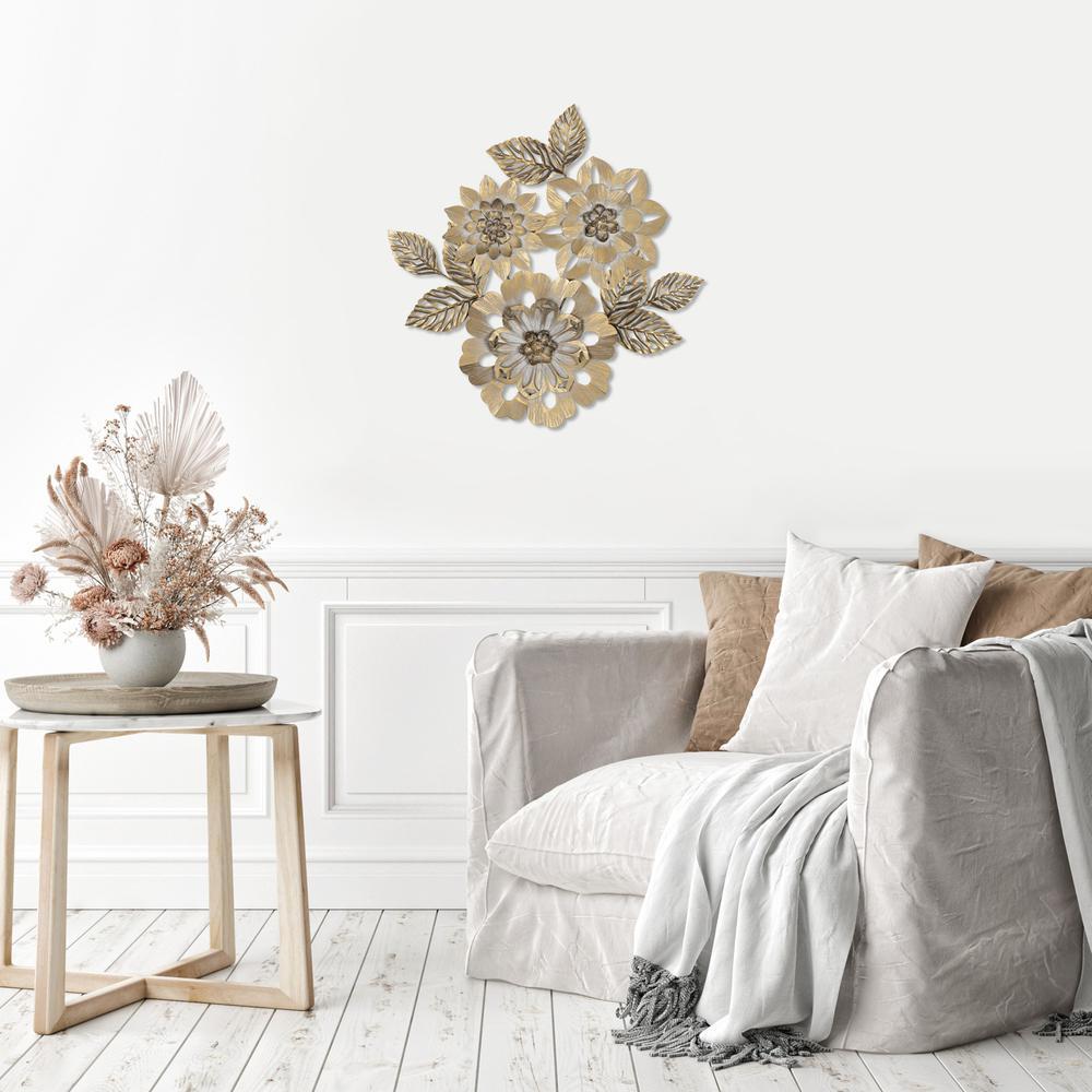 Golden Metallic Flower Wall Décor - 383232. Picture 6