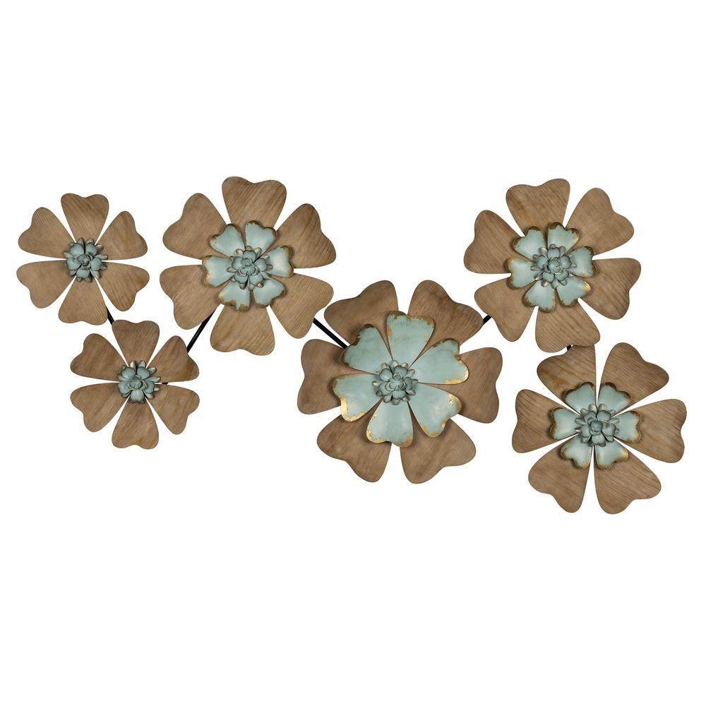 Fun Flowers Natural Wood and Aqua Blue Wall Decor - 383233. Picture 1