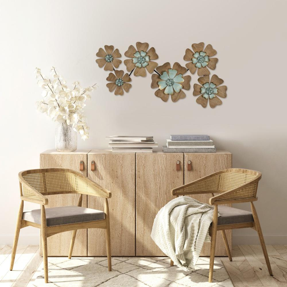 Fun Flowers Natural Wood and Aqua Blue Wall Decor - 383233. Picture 2