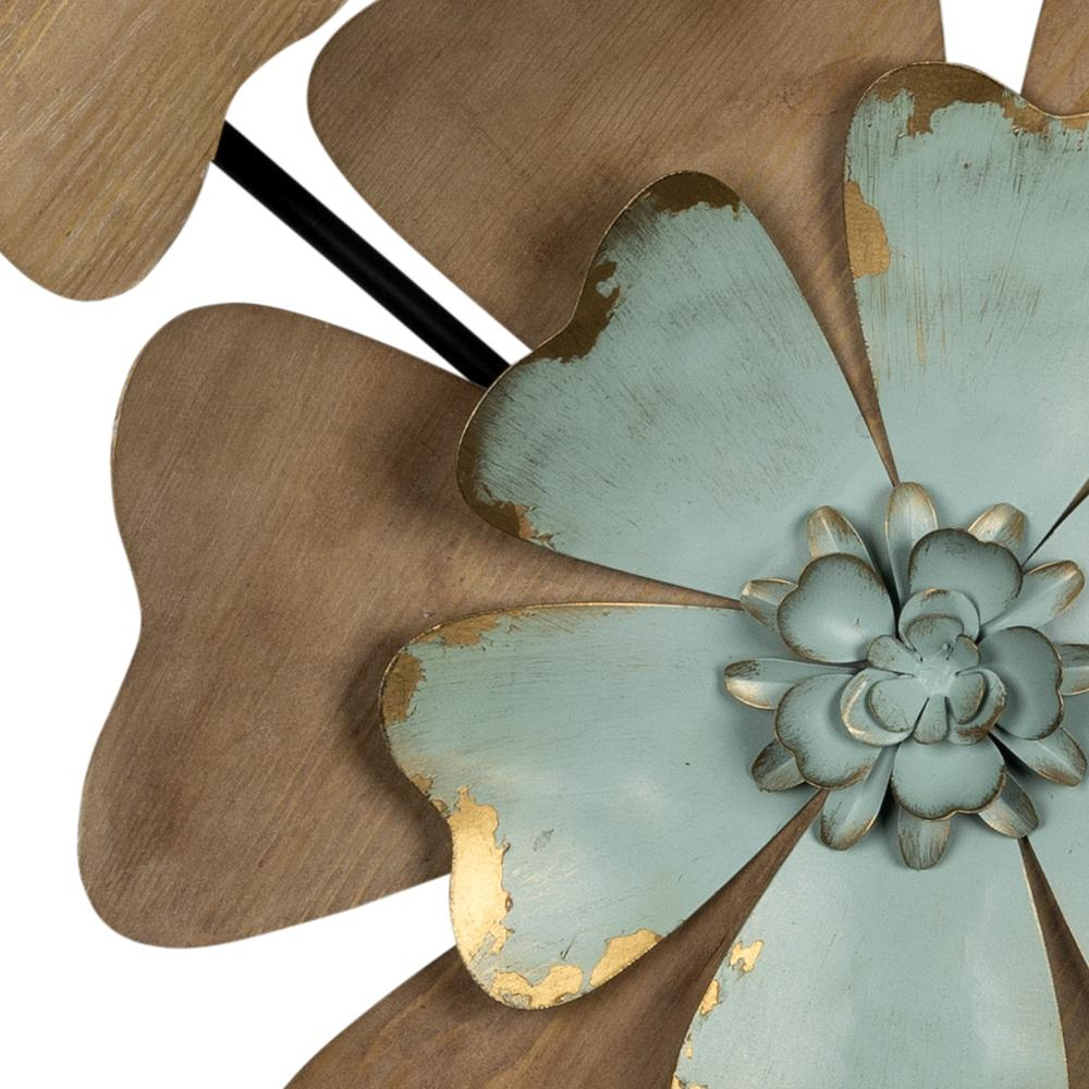 Fun Flowers Natural Wood and Aqua Blue Wall Decor - 383233. Picture 3