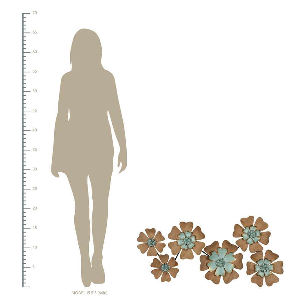 Fun Flowers Natural Wood and Aqua Blue Wall Decor - 383233. Picture 4