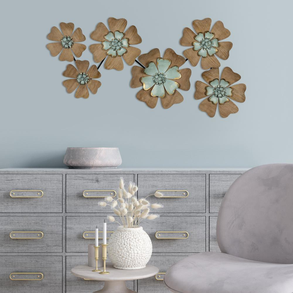 Fun Flowers Natural Wood and Aqua Blue Wall Decor - 383233. Picture 6