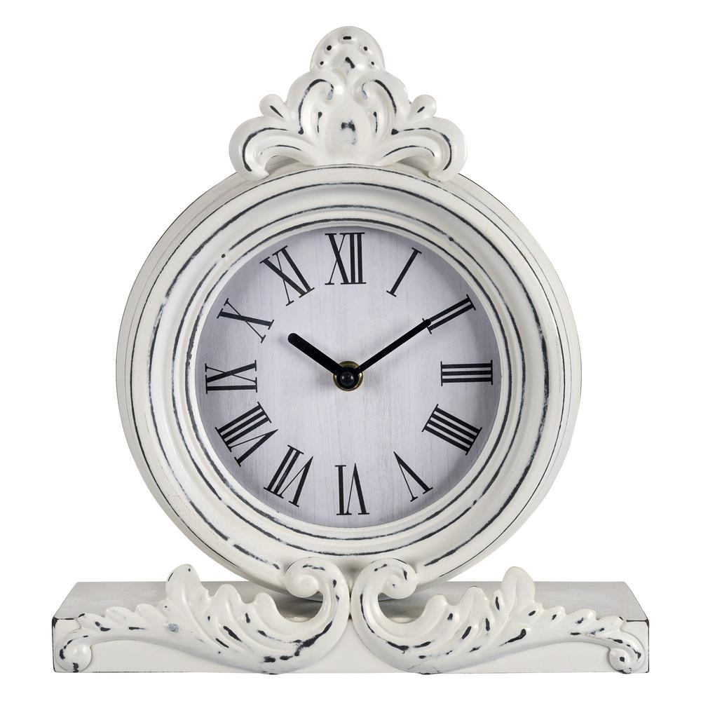 Vintage Look White Distressed Table Clock - 383234. Picture 1