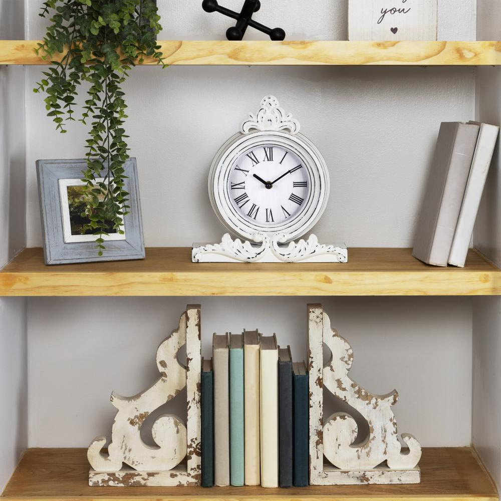 Vintage Look White Distressed Table Clock - 383234. Picture 6