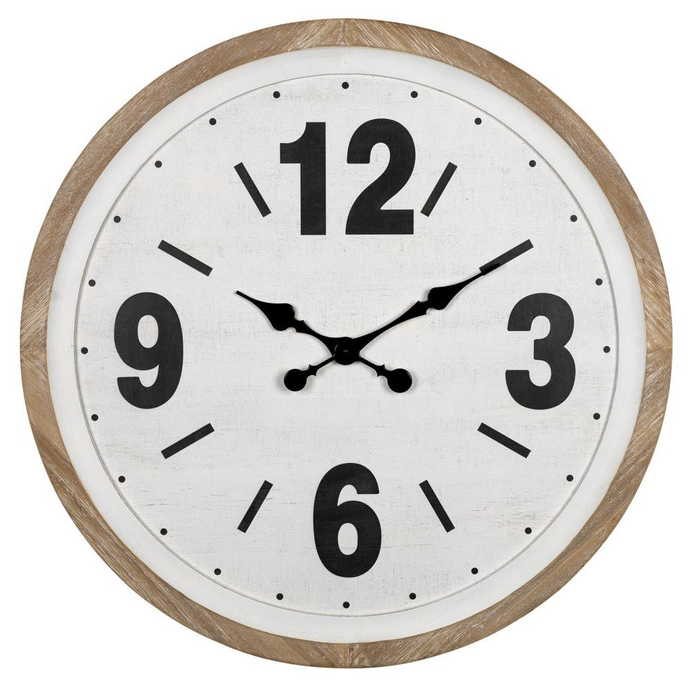 Rustic Natural White Wooden Wall Clock - 383236. Picture 1