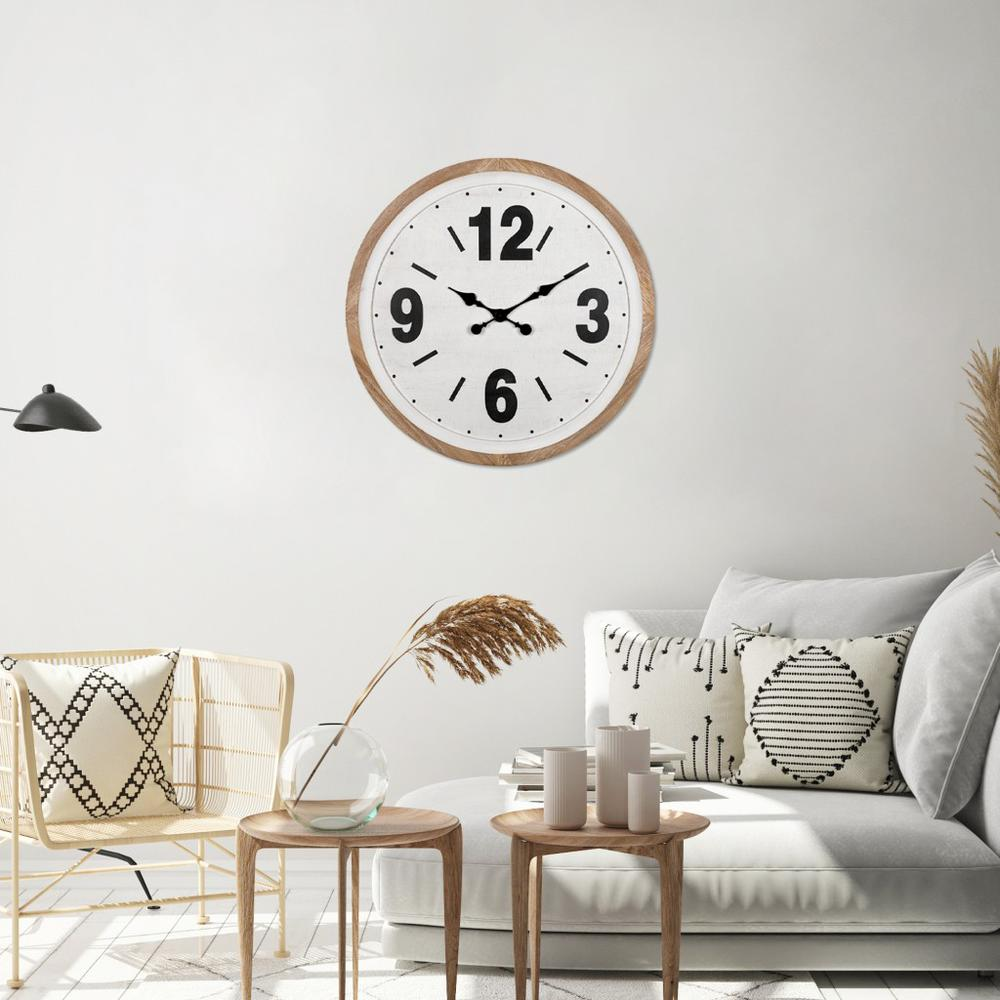 Rustic Natural White Wooden Wall Clock - 383236. Picture 2
