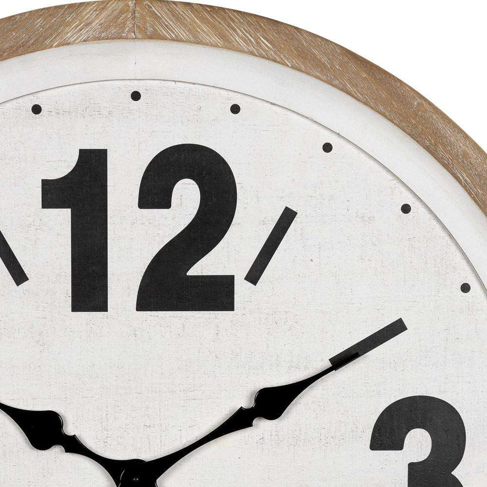 Rustic Natural White Wooden Wall Clock - 383236. Picture 3