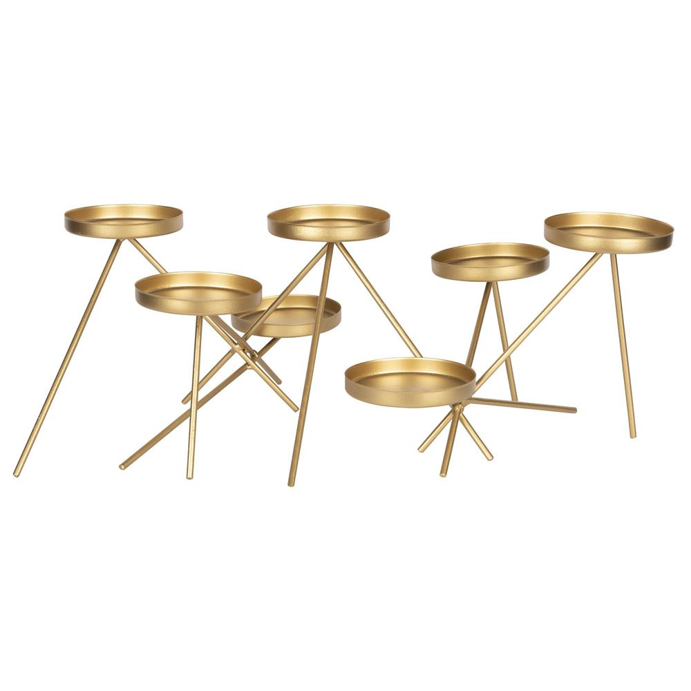 Gold Metallic Candle Holder - 383237. Picture 1