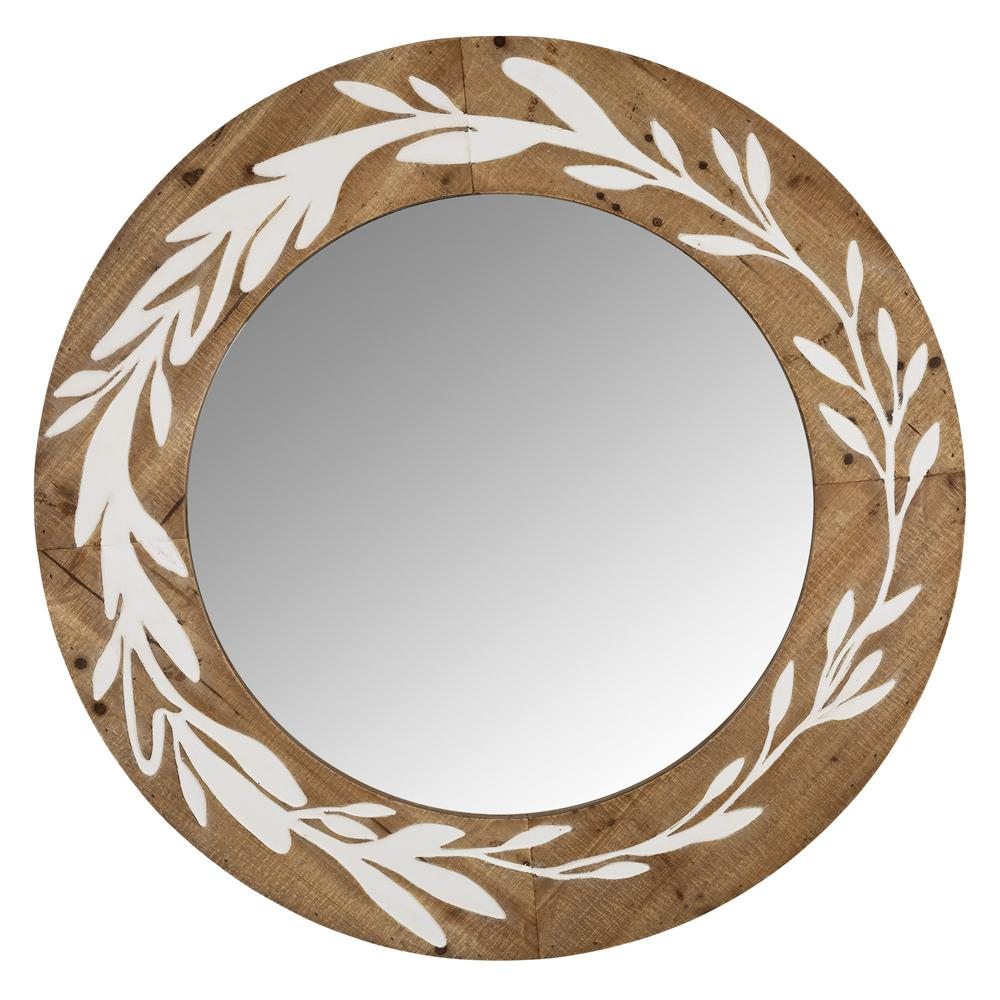 White and Natural Laurel Vine Carved Wood Wall Mirror - 383242. Picture 1
