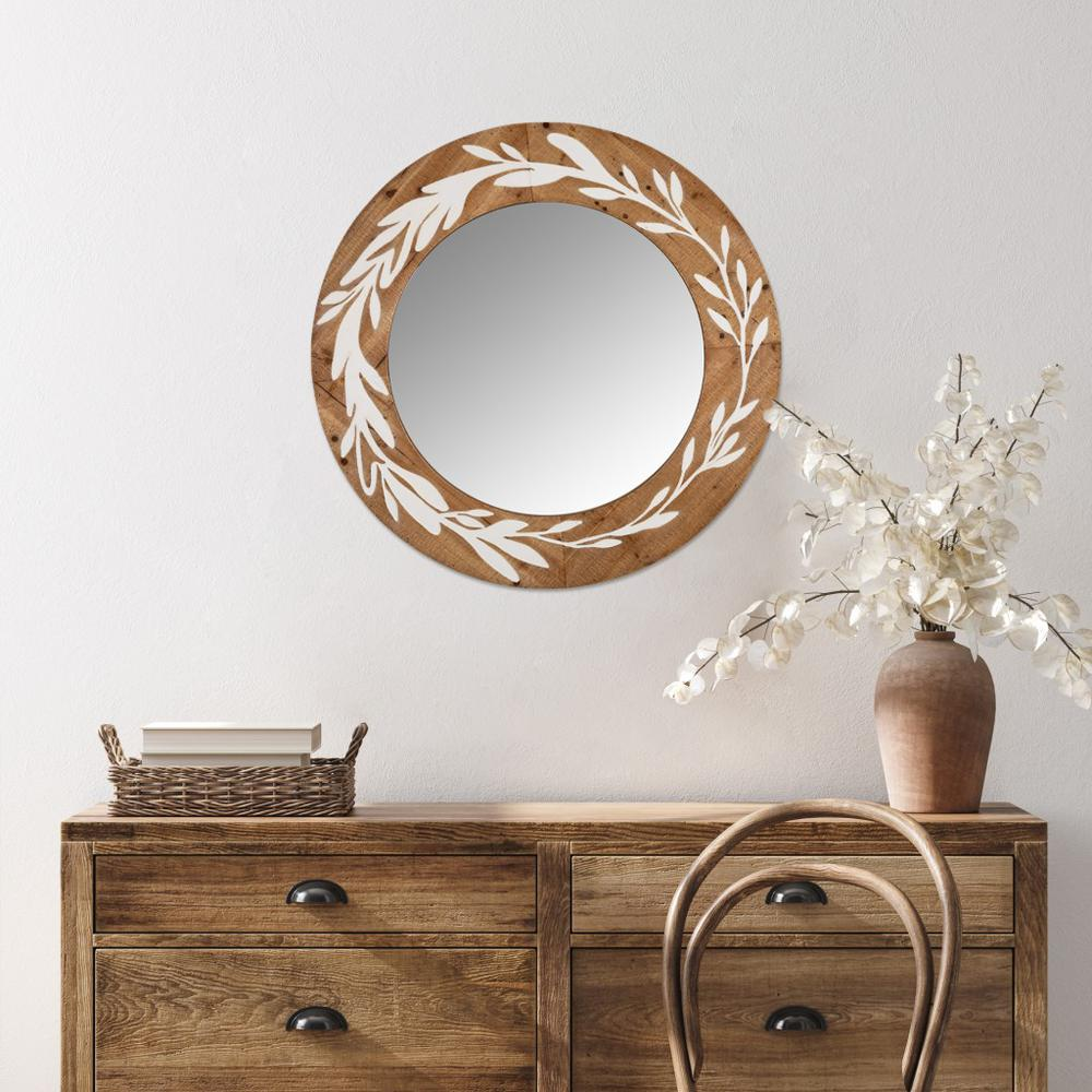 White and Natural Laurel Vine Carved Wood Wall Mirror - 383242. Picture 2