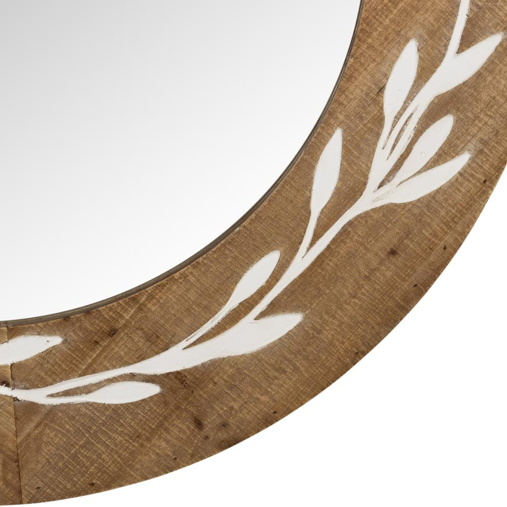 White and Natural Laurel Vine Carved Wood Wall Mirror - 383242. Picture 3
