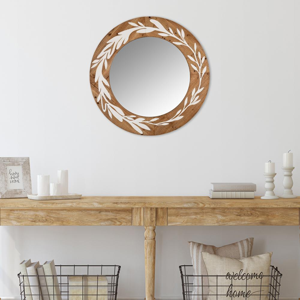 White and Natural Laurel Vine Carved Wood Wall Mirror - 383242. Picture 6