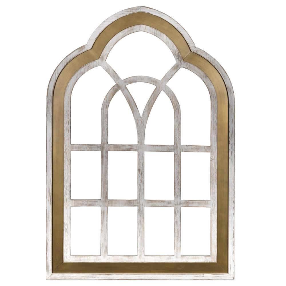 Distressed White and Gold Cathedral WindowWall Decor - 383243. Picture 1