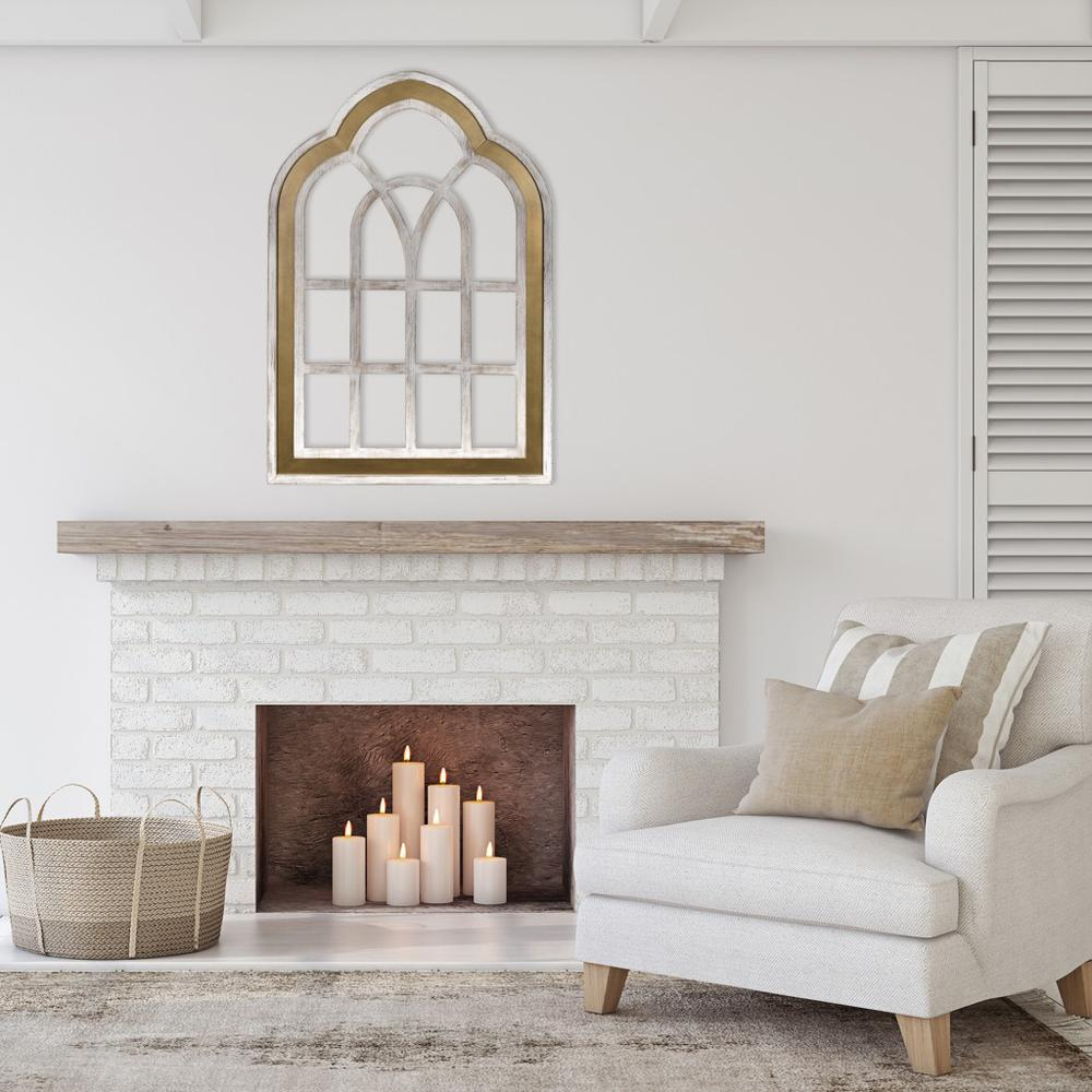 Distressed White and Gold Cathedral WindowWall Decor - 383243. Picture 2