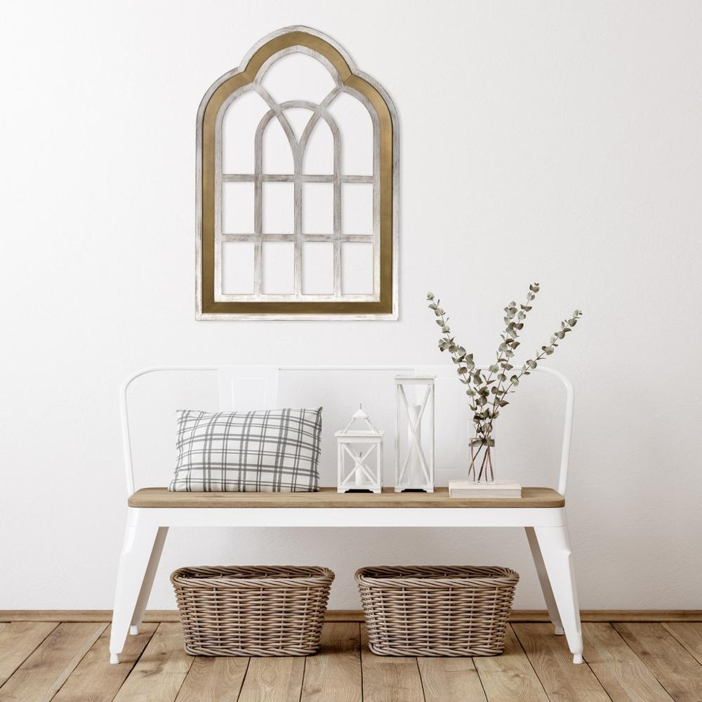 Distressed White and Gold Cathedral WindowWall Decor - 383243. Picture 6