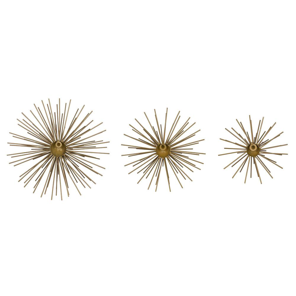 Set of 3 Antique Gold Bursts Wall Décor - 383246. Picture 5