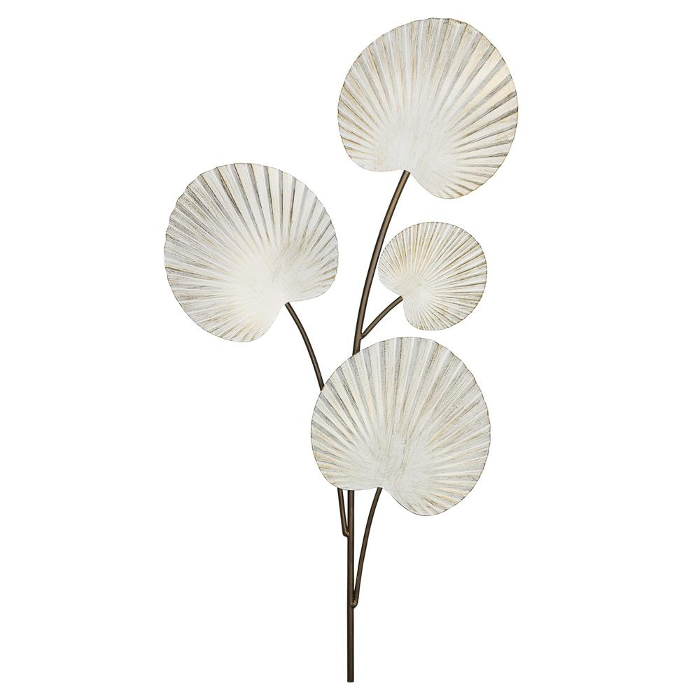 White Shell Leaves Metal Wall Decor - 383247. Picture 1