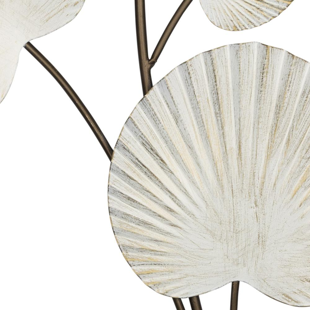 White Shell Leaves Metal Wall Decor - 383247. Picture 3