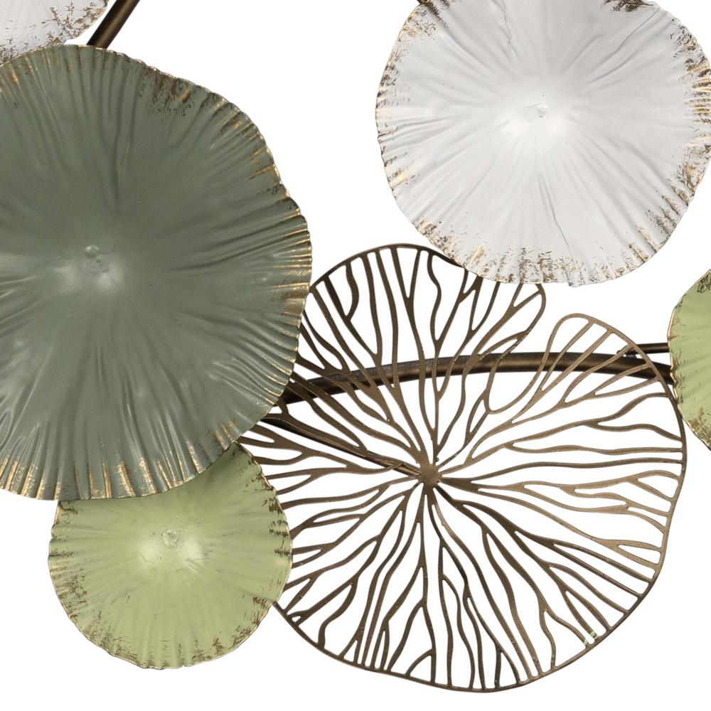 Shades of Green and Gold Metal Water Lilies Wall Decor - 383248. Picture 3