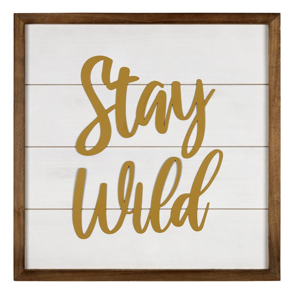 White and Gold Stay Wild Wall Art - 383262. Picture 1