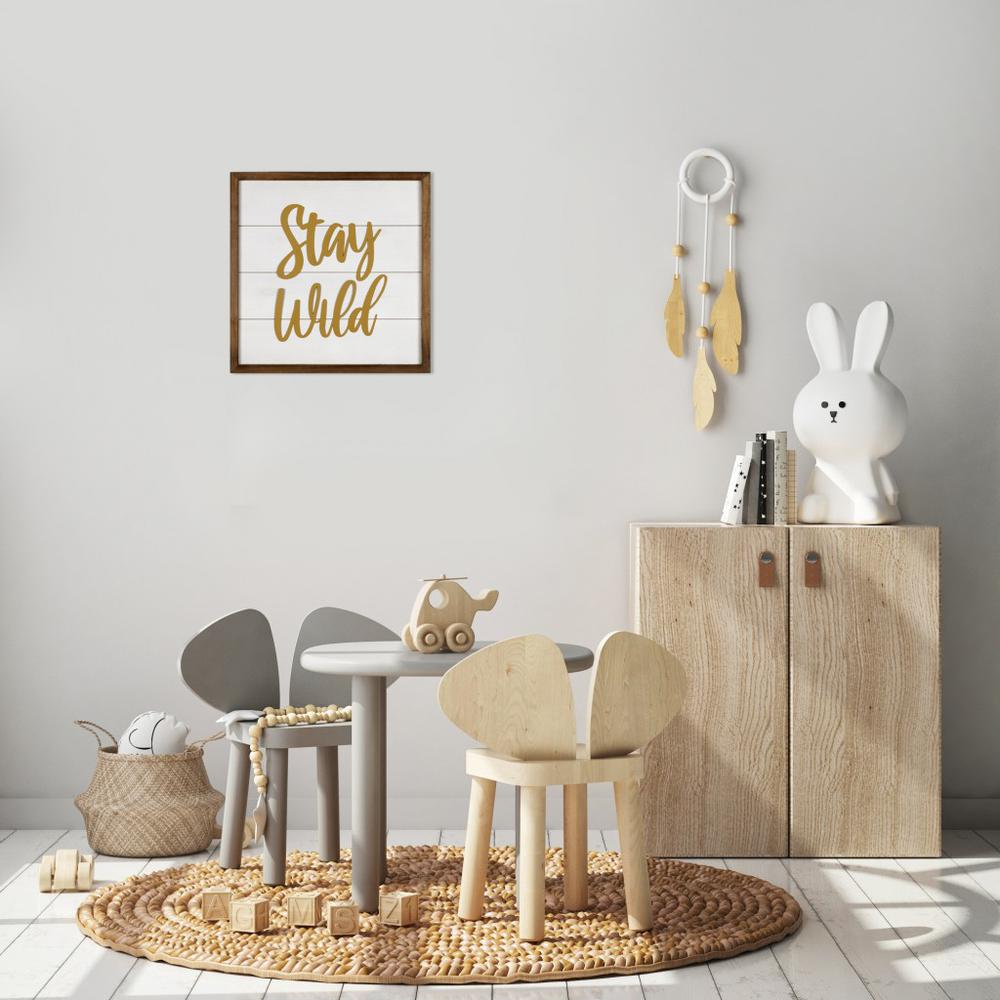 White and Gold Stay Wild Wall Art - 383262. Picture 2