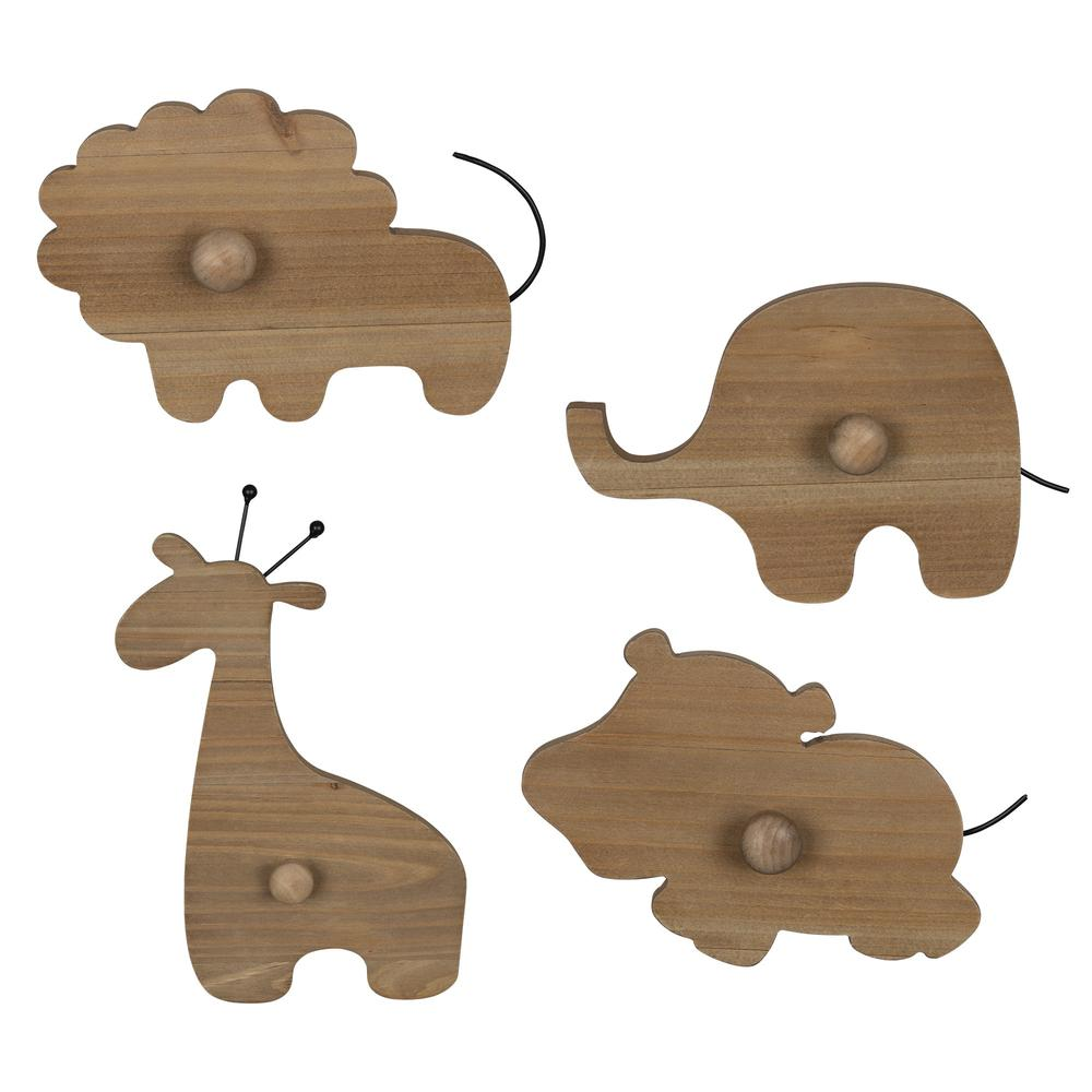 Set of 4 Wooden Safari Animal Wall Hooks - 383264. Picture 1