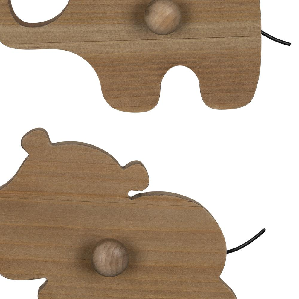 Set of 4 Wooden Safari Animal Wall Hooks - 383264. Picture 3