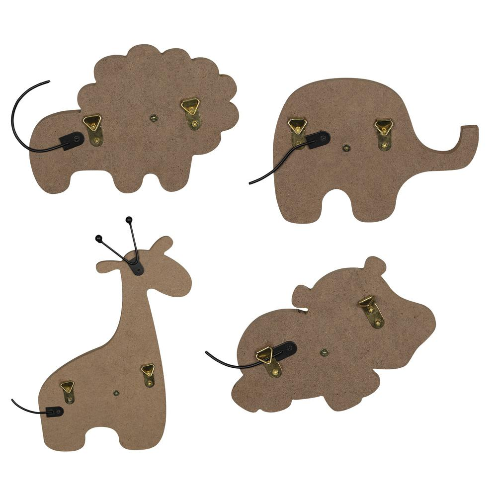Set of 4 Wooden Safari Animal Wall Hooks - 383264. Picture 5